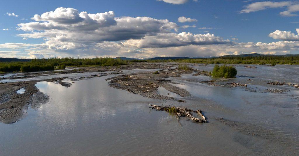 Rieka Chistochina  sa v čase topenia snehu mení na búrlivý veľtok, ako takmer všetky rieky na Aljaške