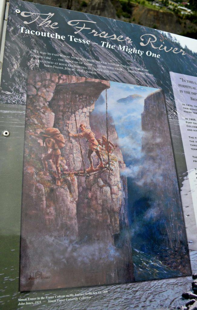 Kresba znázorňujúca Frasera pri pokuse o zdolanie kaňonu nad vodou, o ktorej si myslel, že je rieka Columbia