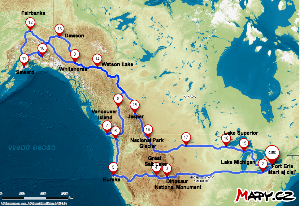 Cestovanie Amerikou a Kanadou až na Aljašku a späť