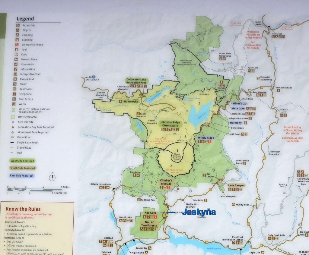 Mapa Mount St. Helens